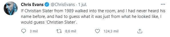 Chris Evans: the strange tweet of the actor that made Christian Slater viral |  Spoiler