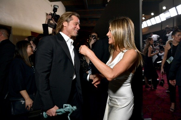 Brad Pitt and Jennifer Aniston at their last meeting in February 2020. Photo: (Getty)