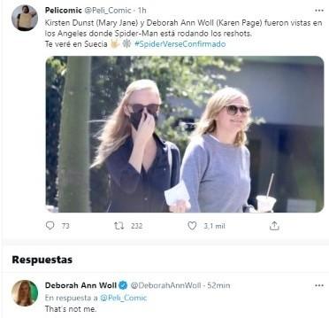 Deborah Ann Woll confirmed that it is not her alongside Kristen Dunst.